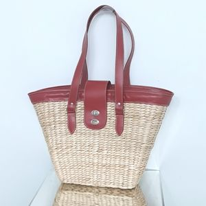 NWOT - Wicker Bag with Red Handles and Trim